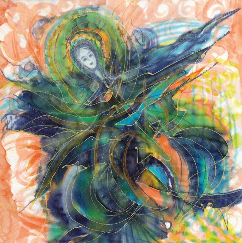 anjel, malovany hodvab