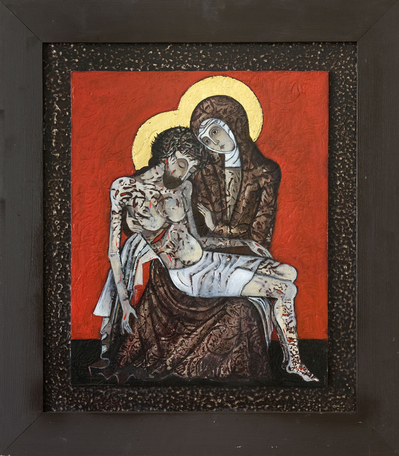 Pieta, olej, krestum